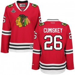 Women's Kyle Cumiskey Chicago Blackhawks Reebok Premier Red Home 2015 Stanley Cup Champions Jersey